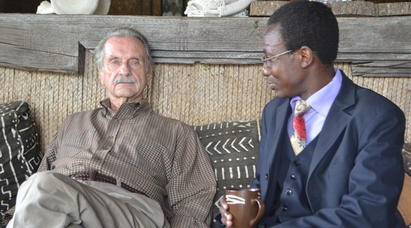 KBC journalist Khainga O'Okwemba chatting with the great Alan Donovan at his home in Mlolongo