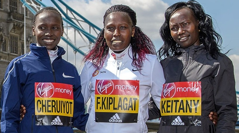 Vivian Cheruiyot (KEN), Florence Kiplagat (KEN) and Mary Keitany (KEN) at the Elite Women photocall at the Guoman Tower Hotel. The Virgin Money London Marathon, 19th April 2017.  Photo: Thomas Lovelock for Virgin Money London Marathon  For further information: media@londonmarathonevents.co.uk